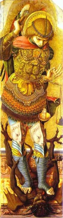 San Miguel aplastando a Satanás