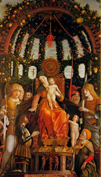 San Miguel Arcángel con el niño y la Virgen