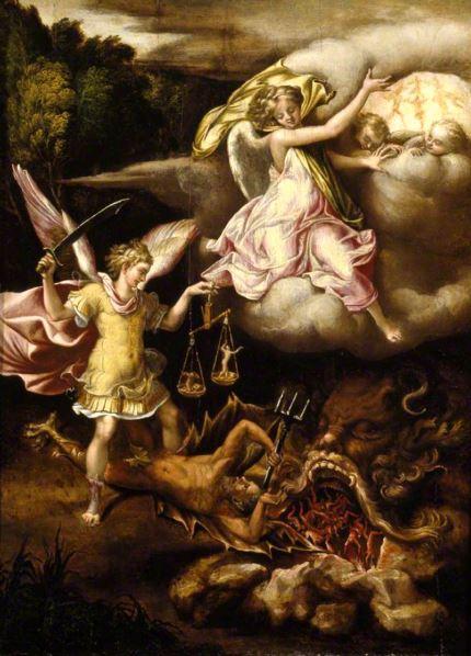 Arcángel Migel en batalla contra la bestia