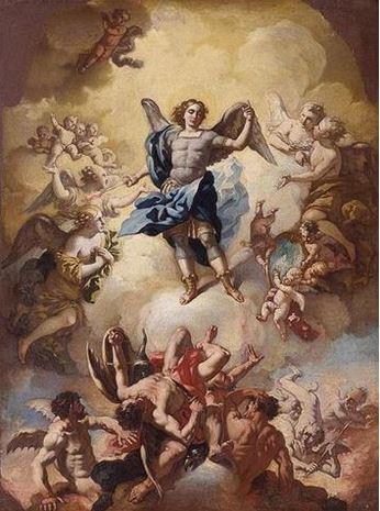 Arcángel Miguel venciendo a satanás