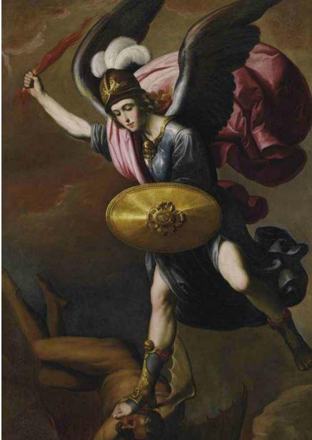 El príncipe Miguel en batalla contra Lucifer