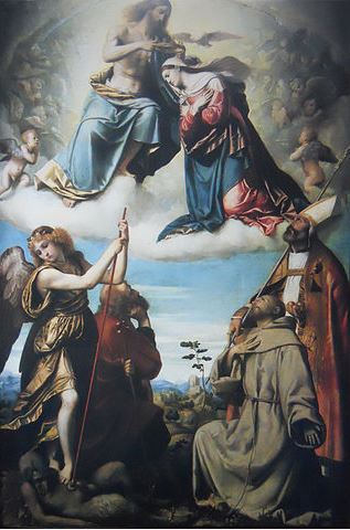 La coronación de la Virgen con San Miguel, San Francisco, San José y Nicolás de Bari