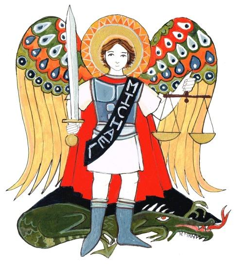 San Miguel Arcángel con su espada y balanza enciendo al dragón
