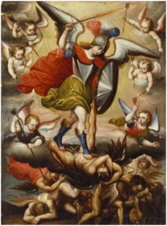 Arcángel San Miguel en batalla contra los ángeles rebeldes