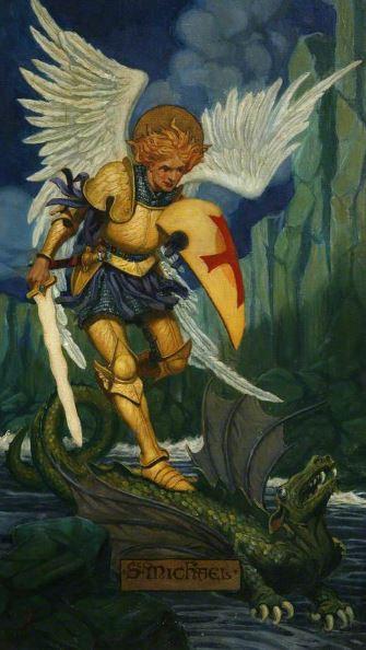 El guerrero San Miguel venciendo al dragón