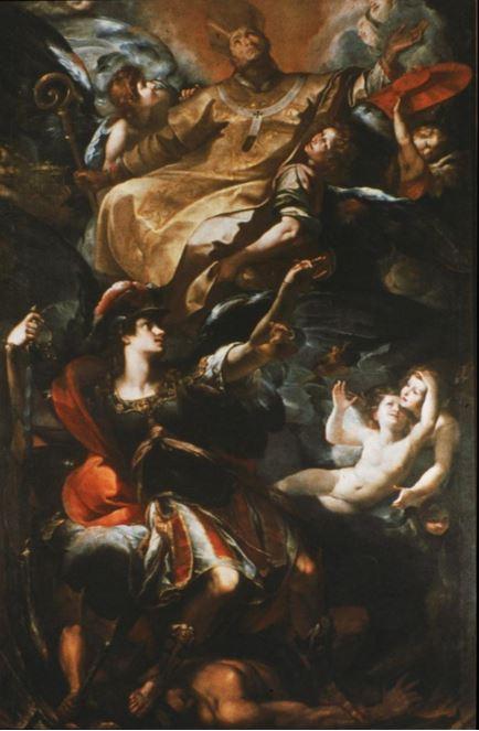 San Carlos Borromeo en la Gloria con el Arcángel Miguel