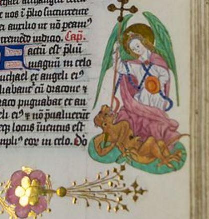 Arcángel Miguel derrotando al diablo