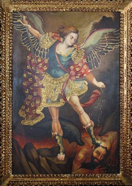 Oleo de San Miguel Arcángel pisando a Satanás
