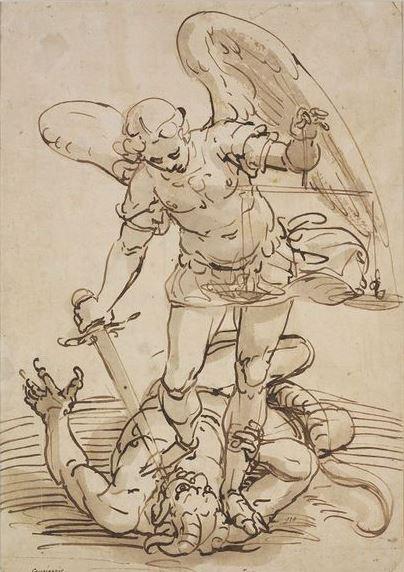 Arcángel Miguel con su espada y balanza luchando contra satanás