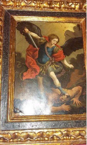 El guerrero San Miguel en lucha contra la bestia