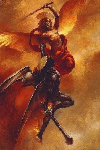 El Príncipe celestial en batalla contra Lucifer