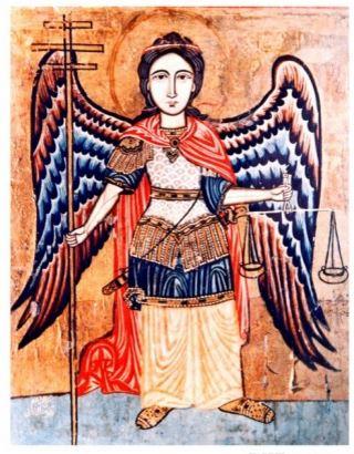 Miguel Arcángel con su espada y balanza