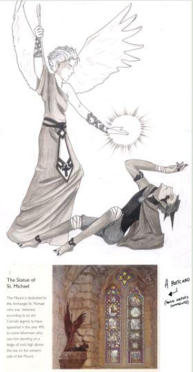 Arcángel Miguel en batalla contra el maligno