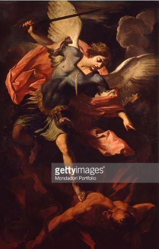 Arcángel San Miguel en batalla contra Lucifer