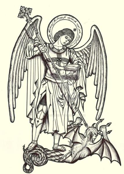 Arcángel San Miguel luchando contra satanás