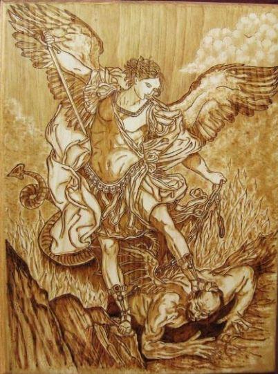 El Príncipe celestial luchando contra Lucifer