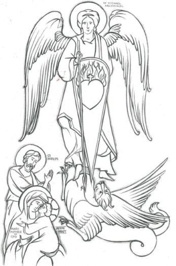 La Sagrada Familia con San Miguel Arcángel luchando contra la bestia