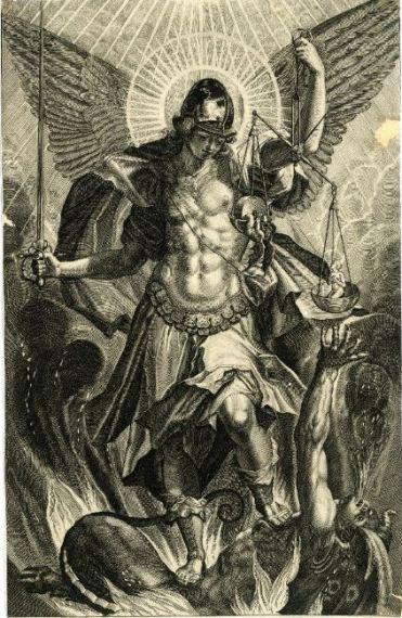 Miguel el pesador de almas en lucha contra Lucifer