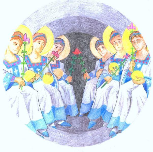 San Miguel Arcángel y la corte celestial