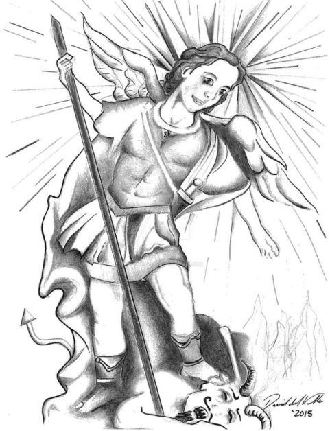 Arcángel Miguel en batalla contra Lucifer