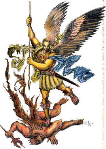 Arcángel Miguel en lucha contra el demonio