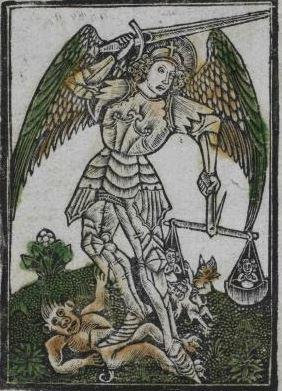Arcángel Miguel pisando al demonio