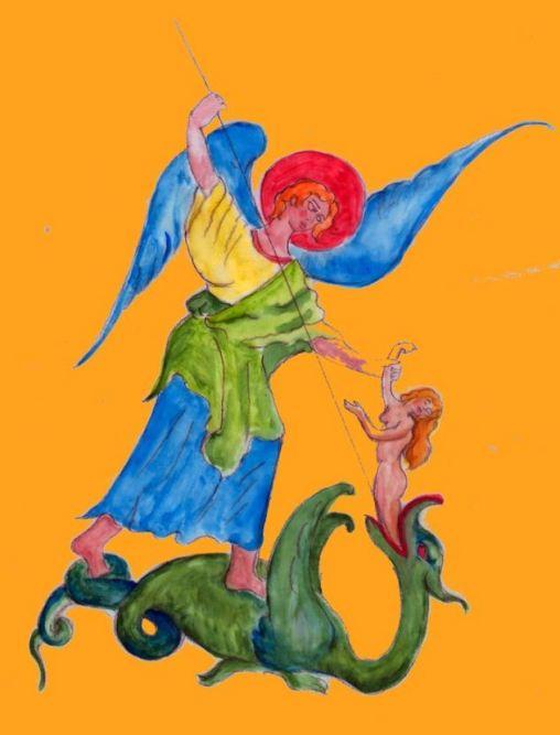 El Arcángel Miguel en batalla contra el dragón