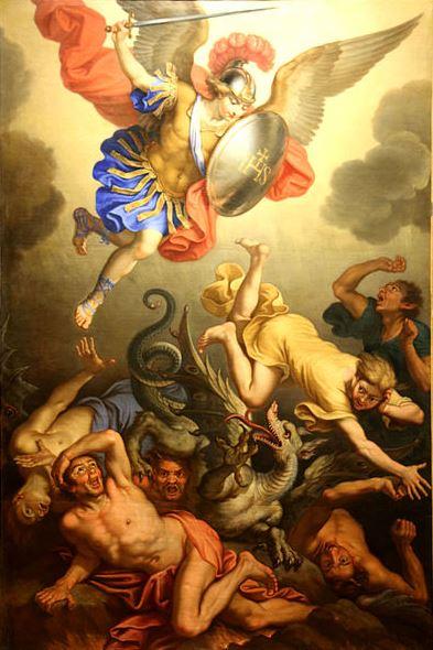 Miguel Arcángel en la expulsión de los ángeles rebeldes