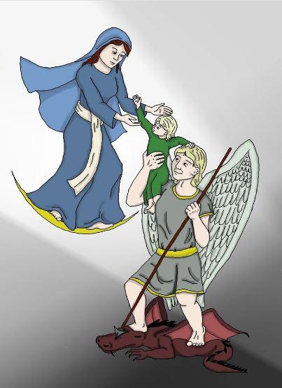 San Miguel Arcángel con el Niño y la Virgen aplastando al dragón