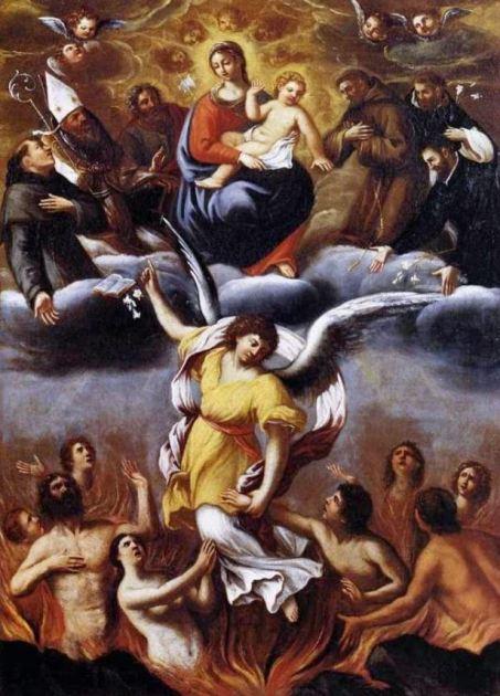 San Miguel Arcángel con la Virgen, el niño y los ángeles caídos