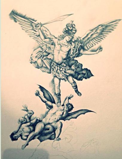 San Miguel Arcángel en batalla contra los ángeles rebeldes