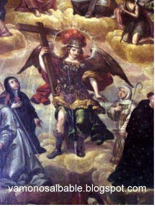 arcangel-miguel-en-compania-de-monjes-franciscanos