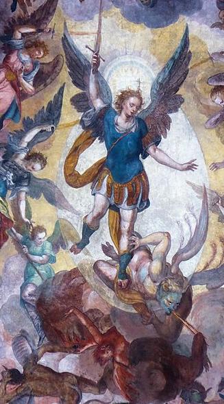 Arcángel San Miguel acompañado de otros arcángeles en la lucha contra satanás